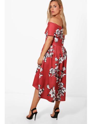 BOOHOO Floral Double Layer Skater šaty Elise foto
