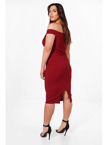 BOOHOO Off The Shoulder Lace Up Midi šaty Anna foto