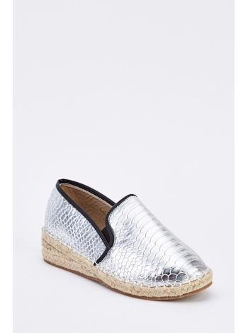TAMSIN OUTLET Metalické espadrilky s croc texturou foto