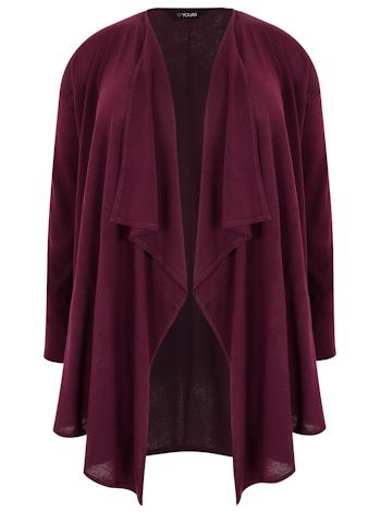 YOURS Burgundy cardigan s waterfall lemy foto